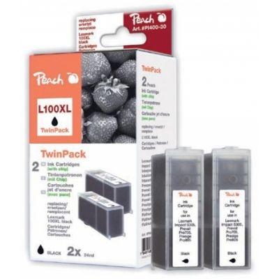 Peach  Doppelpack 2 Tintenpatronen schwarz kompatibel zu Lexmark Genesis S 815
