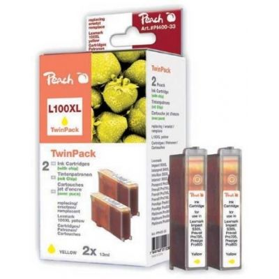 Peach  Doppelpack 2 Tintenpatronen gelb kompatibel zu Lexmark Genesis S 815