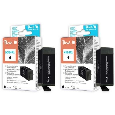Peach  Doppelpack Tintenpatronen schwarz kompatibel zu HP PhotoSmart Premium Touchsmart Web